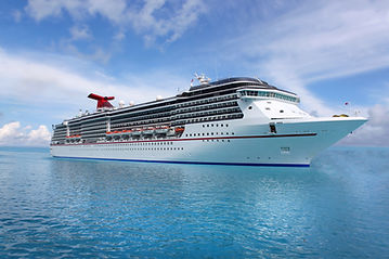 Cruise ship in the clear blue Caribbean