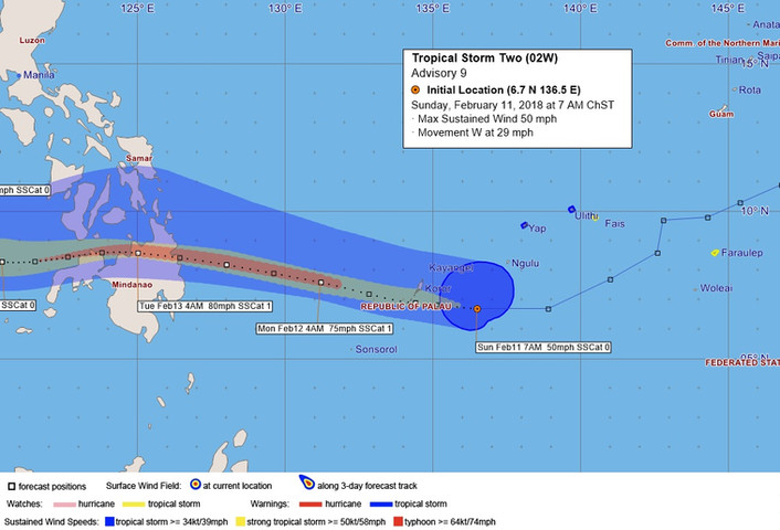 Tropical storm approaches Palau