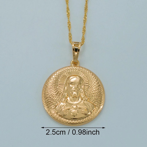 Jesus coin pendant necklace statement jewelrygreater london jesus coin pendant thin gold water wave chain perfect for layering with other pendant necklaces mozeypictures Images