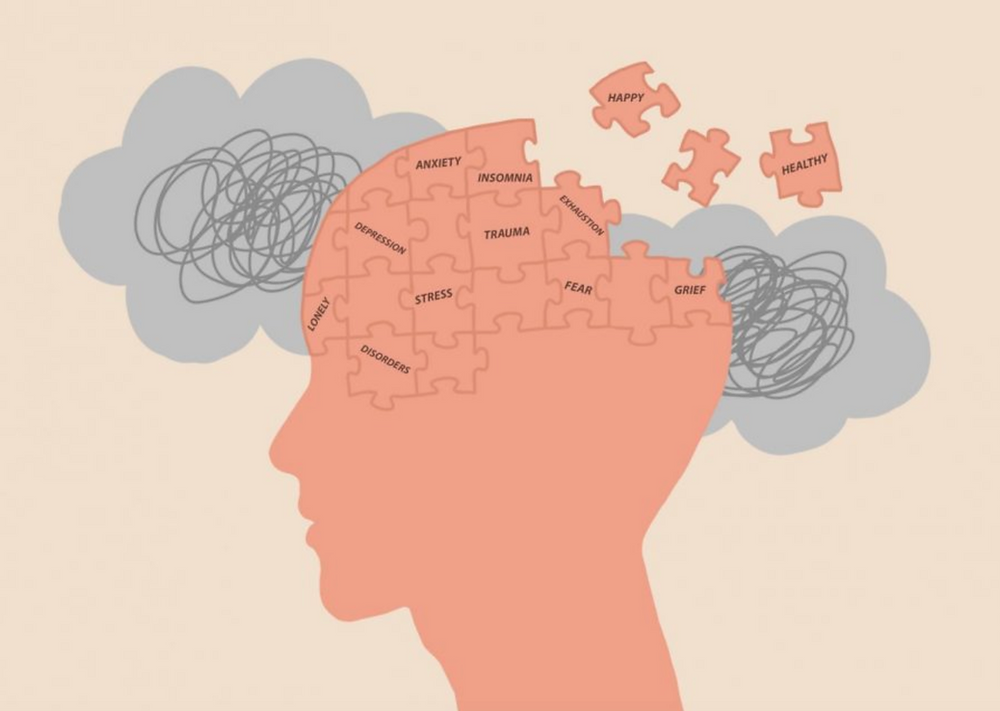 """Graphic of a person's face made of puzzle pieces with words describing mental health conditions (like anxiety, stress, insomnia, trauma, depression, etc.). Some of the pieces are detached (labeled """"happy"""" and """"health"""") and floating into space."""