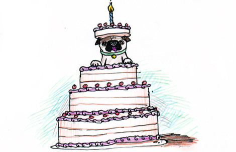 Pug Cake Birthday Card Design