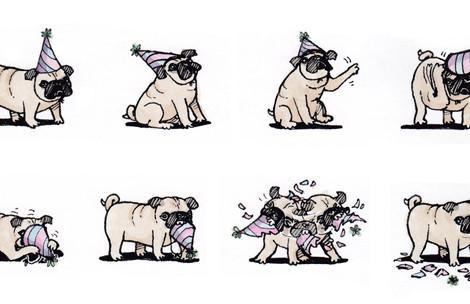 Pug Hat Birthday Card Design