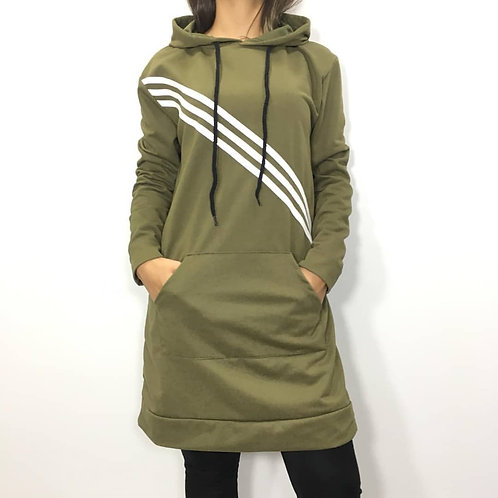 Olive Green Long Fleece Women Coat with Hood