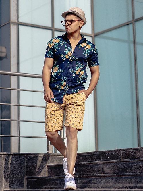 Customized Men's Short Sleeve Cotton Casual Denim Work Shirt