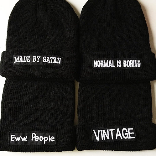 Embroidered Cuffed Beanie Hat Unisex Knitted Skull Cap Double Layer Winter Hats
