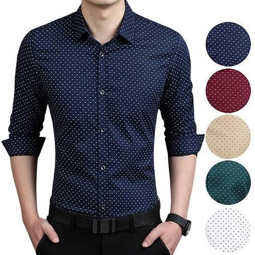 Customized Mens Casual Slim Fit Shirt Cotton Long Sleeve Button Down Dress Shirt