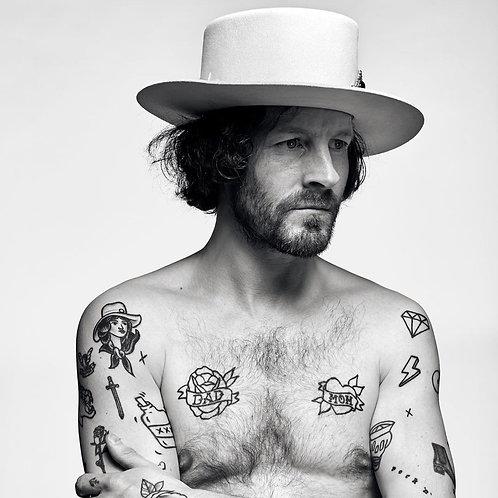 Wide Brimmed Gangster Fedora w/Buckle Hatband, Large Felt Flat Brim Hat