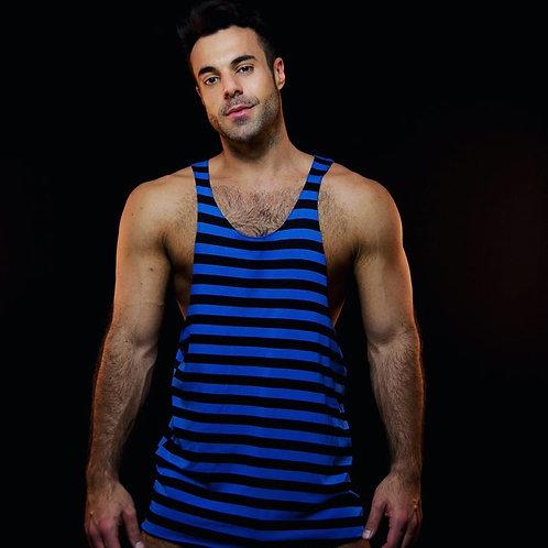 Customized Men's Workout Longline Cotton Tank Top Fitness Extreme Curved Hem