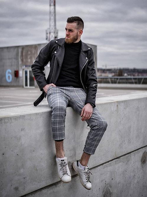 Customized Men's Stretchy Ripped Skinny Biker Jeans Taped Slim Fit Denim Pants