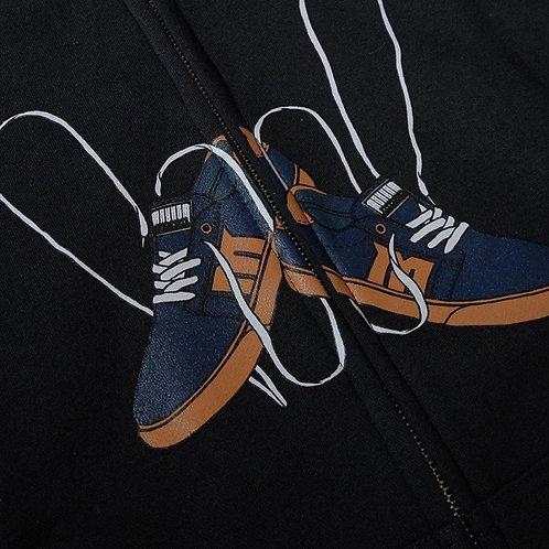 Men Zipper Hoodies Printed Sweatshirt Beautiful Shoes Seamless Pattern