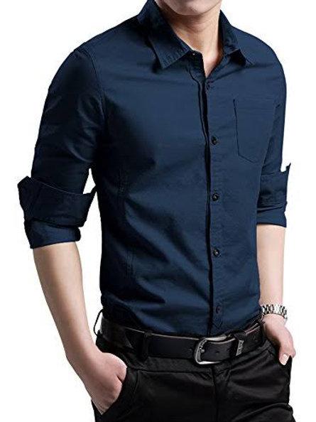Customized Men's Casual Cotton Polka Dots Long Sleeve Dress Shirts