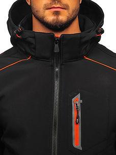 #11 Men's Softshell Jacket Black-Orange