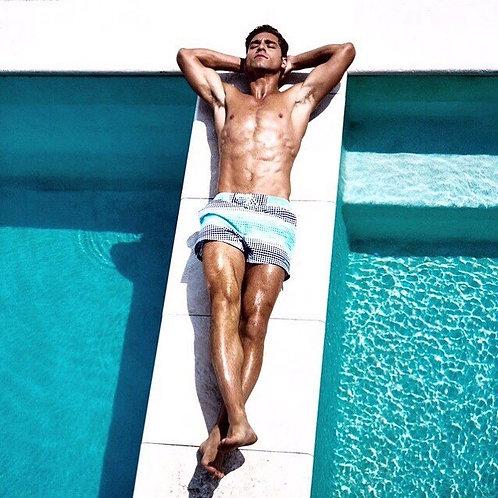 "Customized Palms Men's 6"" Inseam Tropical Hawaiian Print Swim Trunk"
