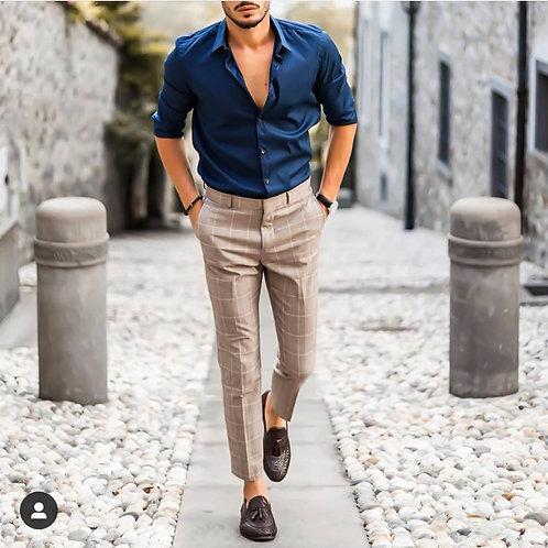Customized Men's Button Up Shirt Slim Fit Dress Shirt Plaid Contrast Shirt Long
