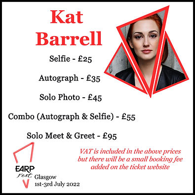 Kat Selfie £25 Auto £35 Solo Photo £45 Combo £55 M&G £95