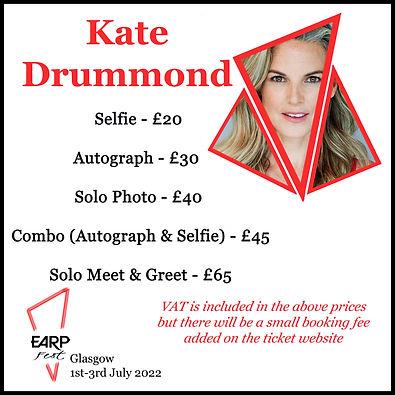 Kate Selfie £20 Auto £30 Solo Photo £40 Combo £45 M&G £65