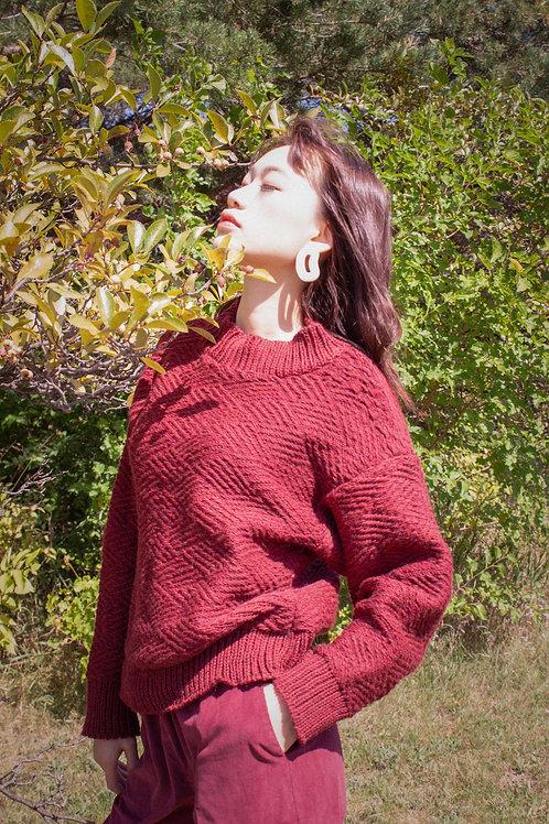 Joeleen Torvick Hand Knit Crop Sweater Mulberry