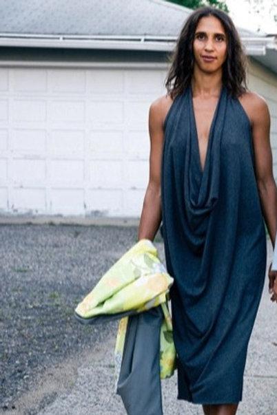 Alma Mia Drape Midi Dress Grey