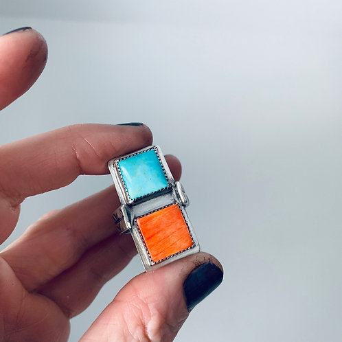 Amy Sabatier Designs Turquoise and Spiny Oyster Ring