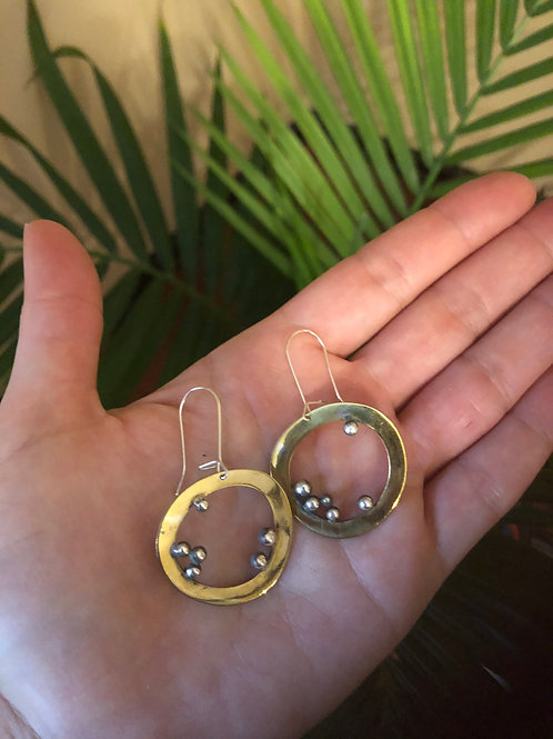 Gina Mount Brass Circles with Sterling Dots Earrings