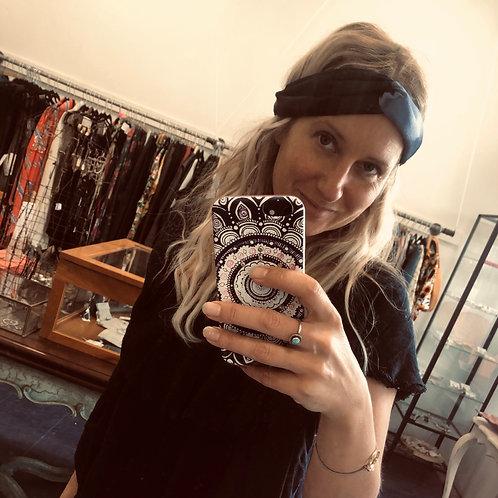 Karen Morris Millinery Turban elastic headband blues