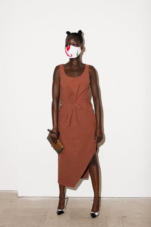 Joeleen Torvick hi-low belted dress cocoa or black