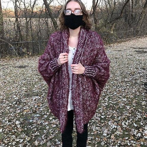 1004 Designs Cocoon Sweater Burgundy Tweed