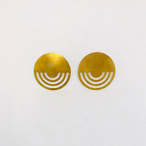 Dottir Brass Circle Cut Out Earrings