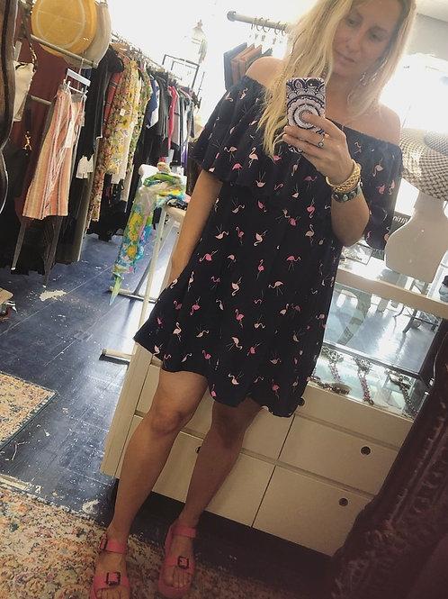 Alma Mia Mini Ruffle Dress in Flamingo Print