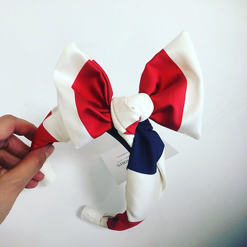 Karen Morris Millinery Red White and Blue Bow Headband