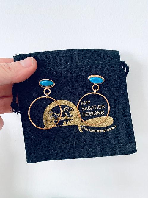 Amy Sabatier Designs Turquoise gold hoops