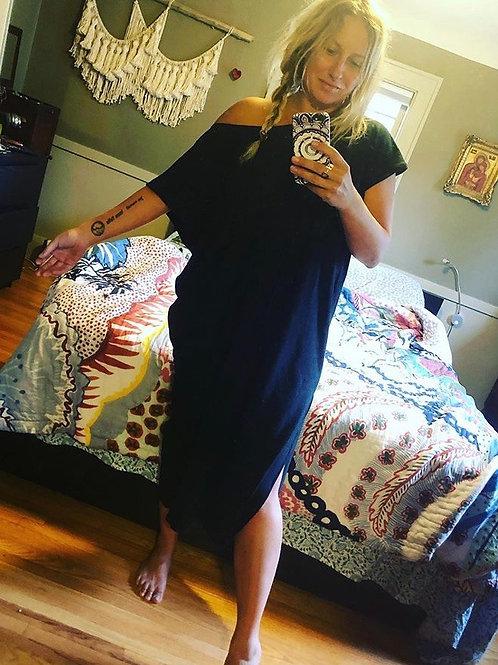 Alma Mia Midi Kaftan Dress in Black Slub Jersey