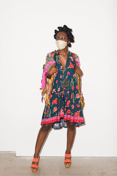 Alma Mia Mini Halter Gypsy Dress with Trim