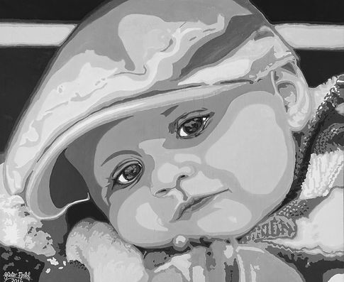 ICON for acrylic portrait of 'Elias 7 months 2016' painted by the artist Vidar Fjeld in a photorealistic pop-art style. Canvas size 61 x 50 x 2 cm.