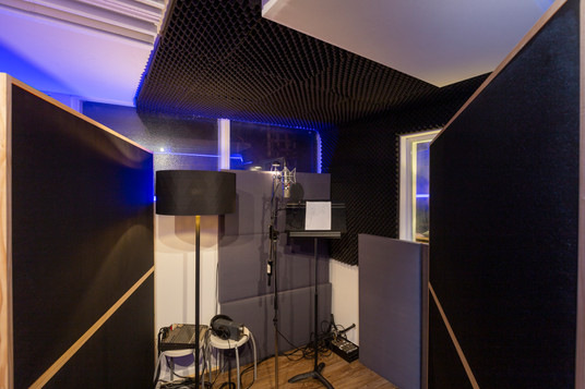 Our vocal booth great for recording vocals and voice overs.