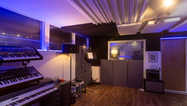 Live room for band recording and instruments