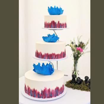3 tier wedding cake painted buttercream wedding cake