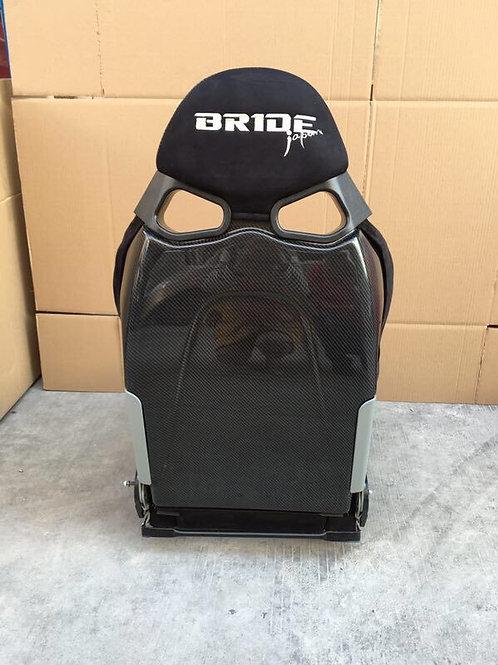 2x Bride CUGA JAPAN Suede BLUE Low Max Carbon Fibre Reclining Bucket Seats.