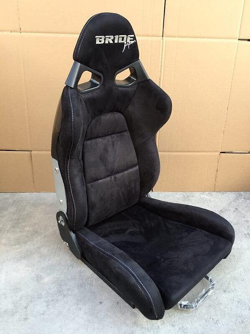 2x Bride CUGA JAPAN Suede BLACK Low Max Carbon Fibre Reclining Bucket Seats.