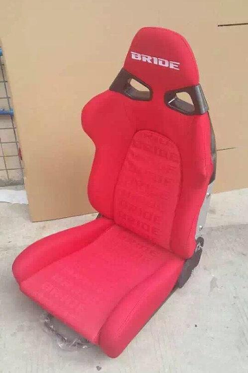 2x Bride CUGA RED Carbon Fibre Super Aramid Low Max Reclining Bucket Seats.
