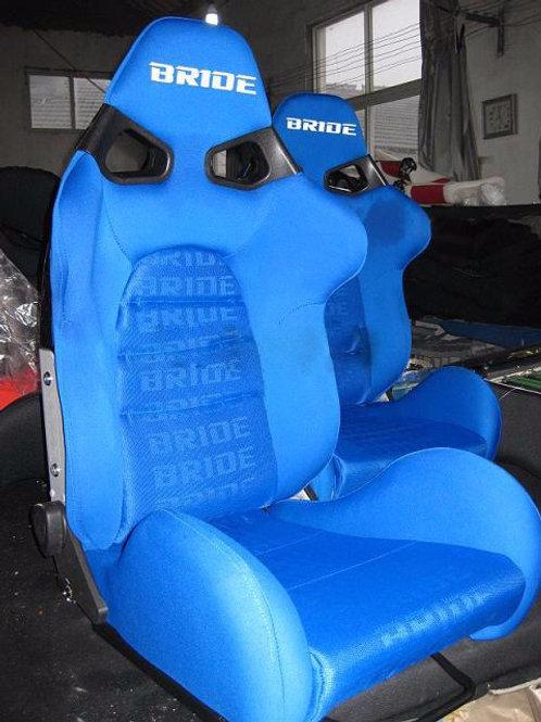2x Bride CUGA BLUE Carbon Fibre Super Aramid Low Max Reclining Bucket Seats.