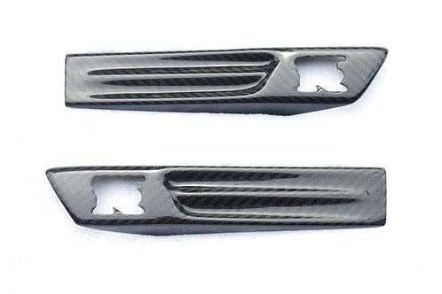 R35 GTR Carbon Fibre Front Wing Side Badge Emblem Covers.