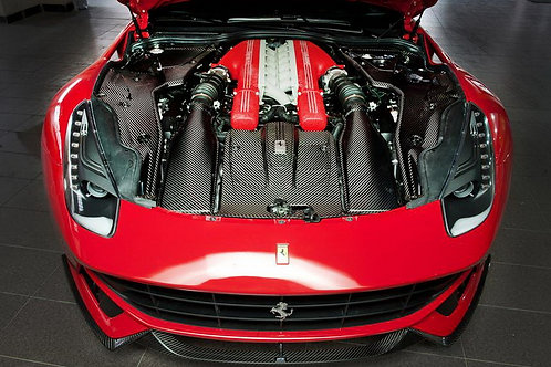 F12 Fully Carbon 3-Piece Engine Cover Panel Kit OEM Fitment.
