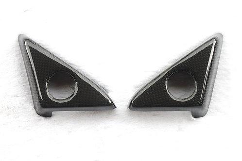R35 GTR Carbon Fibre Interior Door Mirror Tweeter Speakers Surround Trim Covers.