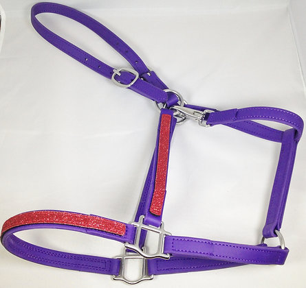 DIVINE EQUINE Purple Beta Halter With Red GLITTER overlay