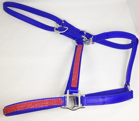 DIVINE EQUINE Royal Blue Beta Halter With Red GLITTER overlay