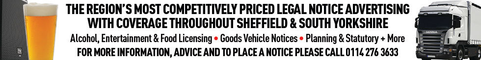 Sheffield Legal Notices, Licensing Notice, Goods Vehicle Notice.