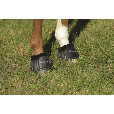Shires Equestrian fleece lined rubber Bell Boots w/ Velcro