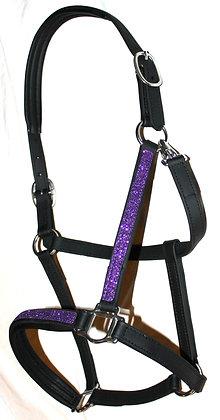 DIVINE EQUINE Black Beta Halter Padded neck with Purple GLITTER overlay