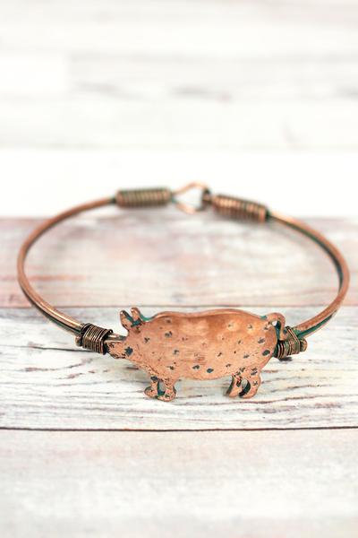 Burnished Coppertone & Patina Pig Wire Bangle